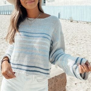 NWT Striped Cropped Knit Sweater